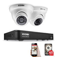 ZOSI 4 Channel FULL 1080P HD TVI Recorder Case DVR Kit CCTV System with 2MP IR Filter Outdoor Nightvision 2pcs Dome Video Camera