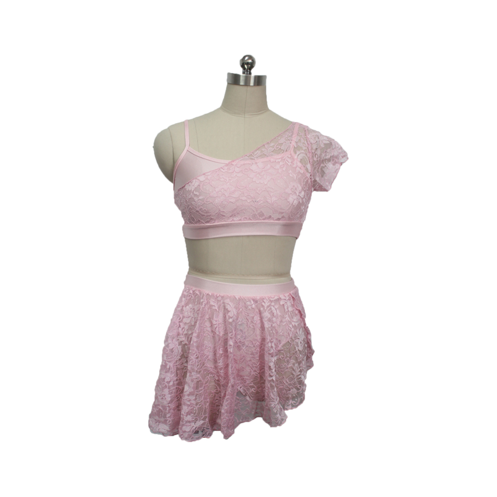 [Girls-Ladies-Modern-Dress-2-Pieces-Latin-Dress-Lace-Overlay-Camisole-Top-and-Skirts-Lyrical-Performance]