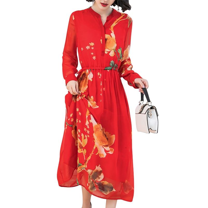 Новинка 2019, дизайнерское платье из искусственного шелка, Осеннее оригинальное дизайнерское женское платье с длинным рукавом и цветочным пр