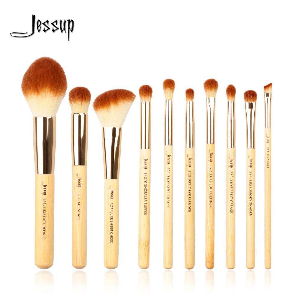 Jessup Brushes 10pcs Bamboo Professional Makeup Brushes Brush Set Beauty Make Up Tool Kit Foundation Powder Definer Shader Liner