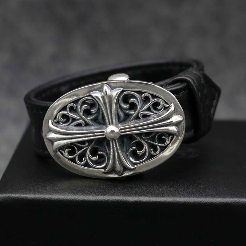 Personality Punk Leather Hand Ring S925 Sterling Silver Cross Couple Bangle Simple Retro Thai Silver simple retro fashionable personality stainless steel couple rings silver black us size 9 7