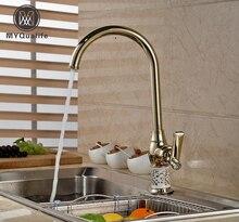 Однорычажный Золотой Латунь Кухня кран Палуба Гора холодной и горячей водой краны одно отверстие поворотный вращение шеи