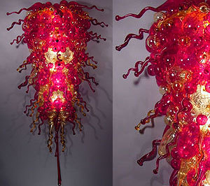Hot Fashionable Red Big Blown Murano Glass Chandelier Lighting in Chandeliers from Lights Lighting