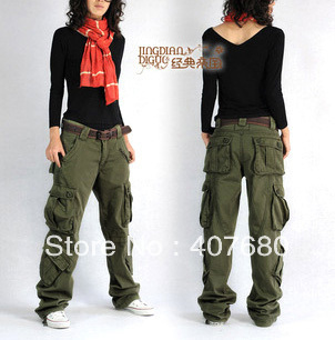 2013 winter women's overalls cargo pants casual multi-pocket loose hip-hop straight trousers thick army green plus size - Cool Pants store