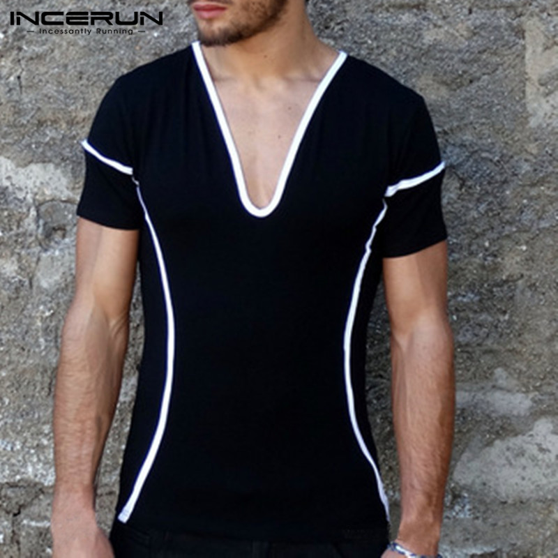 INCERUN Fashion Mens Slim Fit  T-Shirts Sexy Deep V Neck Striped Basic Bodybuilding Muscle Tee Joggers Workout Plus Size S-5XL