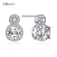 Solid 925 stud earrings round cut cz crystal jewelry elegant statement jewellery shiny sterling silver earring gifts fashion elegant minimal gold cz crystal full stud earrings for woman girl statement 925 silver perforated earring jewelry gift