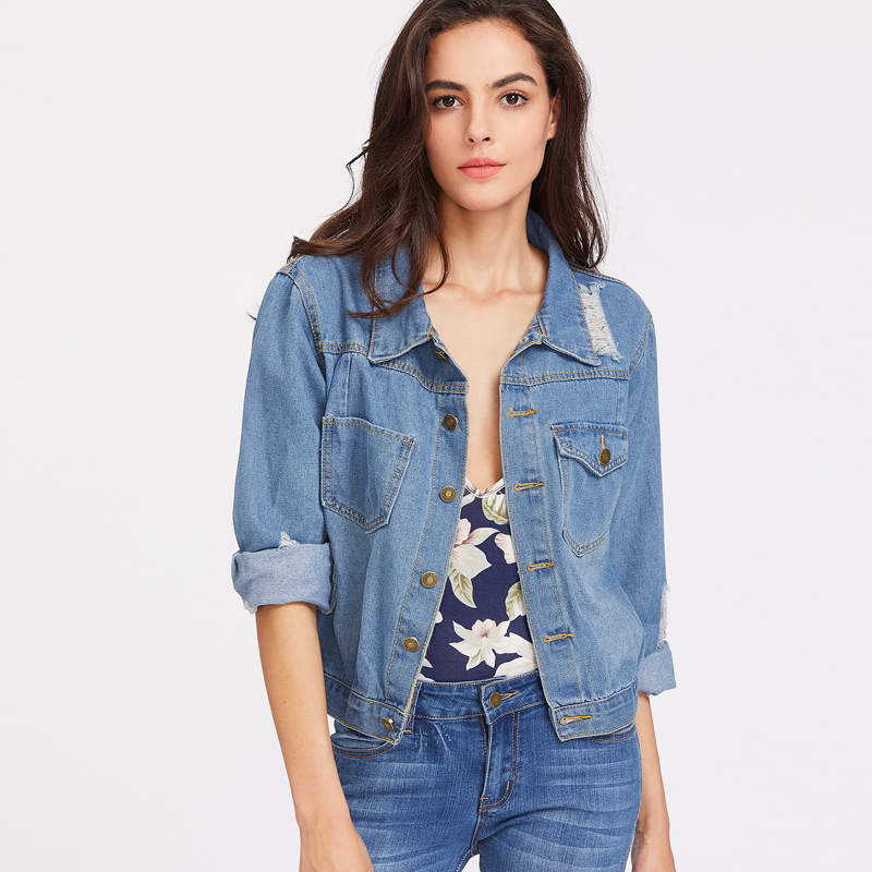 Single Breasted Lapel Ripped Jean Jacket For Women