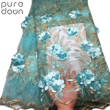 Puredown 2019 New style French net lace fabric 3D flower African tulle mesh high quality african