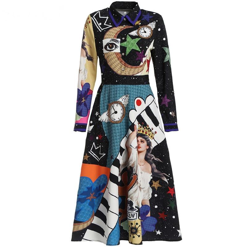 Svoryxiu 滑走路の高級クリスタルダイヤモンドの女性のエレガントな長袖星空天使プリントファッションパーティードレス  グループ上の レディース衣服 からの ドレス の中 3