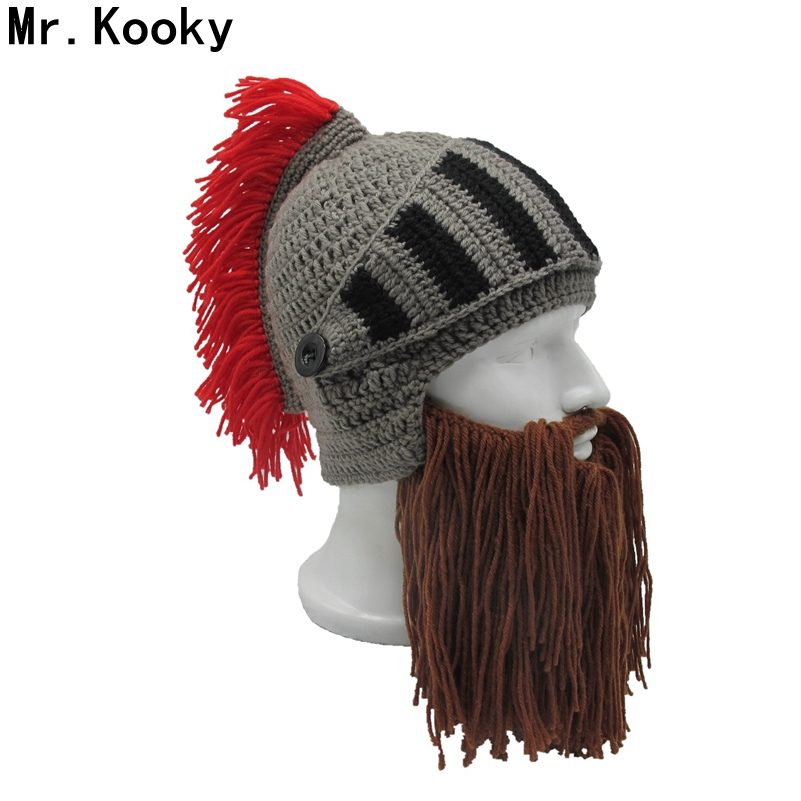 Mr.Kooky Red Tassel Cosplay Roman Knight Knit Helmet Men's Caps Original Barbarian Handmade Winter Warm Beard Hats Funny Beanies