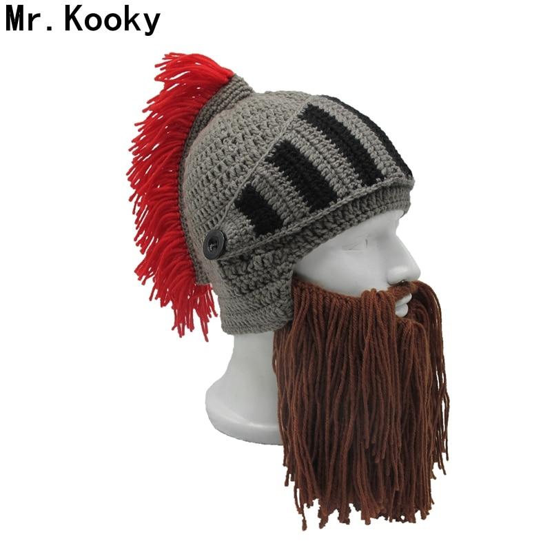 Mr.Kooky Red Tassel Cosplay Roman Knight Knit Helmet Men's Caps Original Barbarian Handmade Winter Warm Beard Hats Funny   Beanies