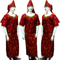 BAIBAZIN African Dresses for Women African Cotton 100% Wax Cloth 11 Colors Dashiki Headscarf + Tops + Skirt Three piece Suit