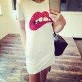 Trendy Summer Women Short Sleeve Sequins Lip T-Shirt Long Tops Mini Dress