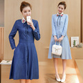 Fairy Dreams 2017 denim dress autumn spring winter new style long sleeve embroidery collar elegant dresses plus size clothes