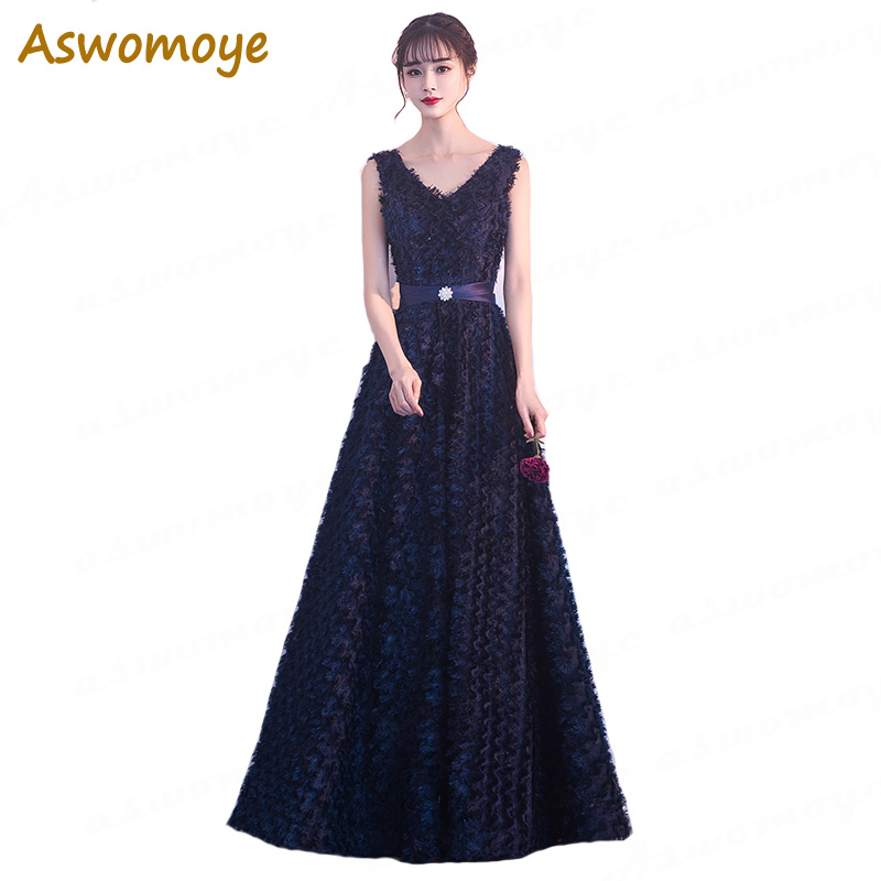 Aswomoye Elegant A-Line   Evening     Dress   Long 2018 New Stylish Soft Comfortable Prom Formal   Dress   Back Lace Up robe de soiree