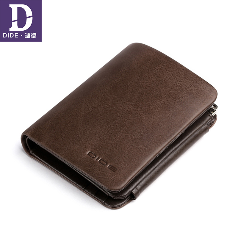 DIDE Top Quality Genuine Leather Men's Wallets For Teenage Boys Coin Purse Card Holder Short Clutch Wallet Male Fashion Business