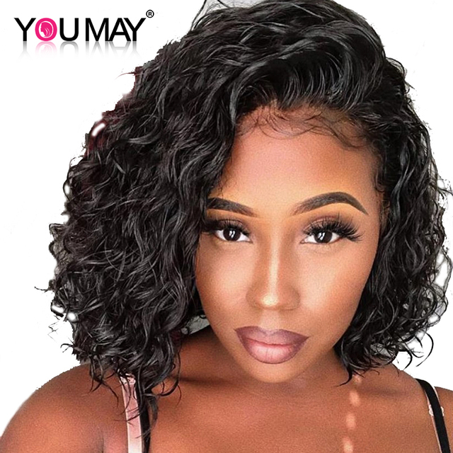 Curly Full Lace Human Hair Wigs 130% Density Short Bob Wig Brazilian Remy Hair Wig Pre Plucked Front With Baby Hair You May