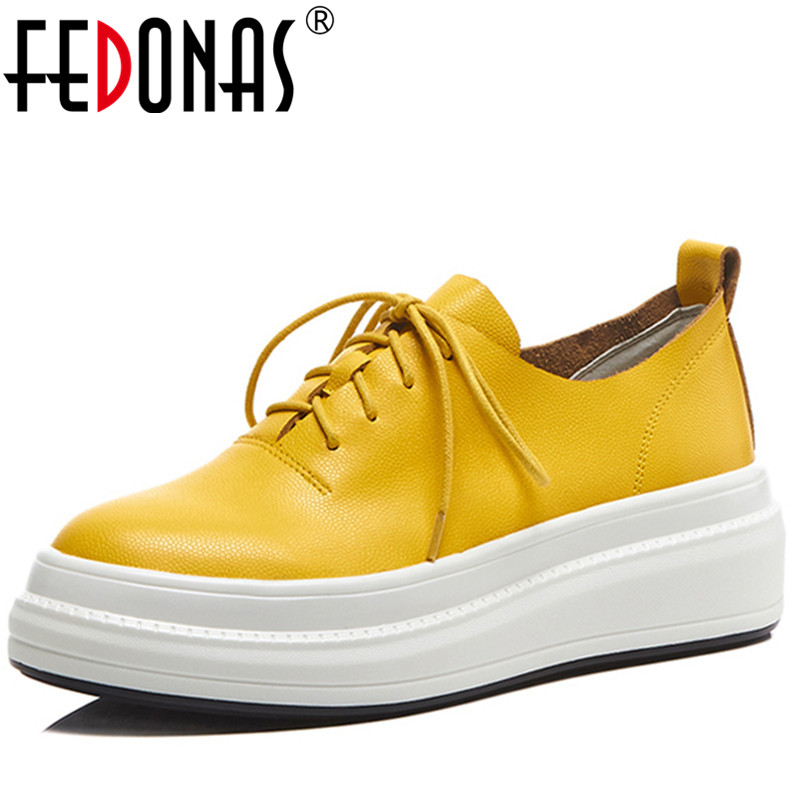 FEDONAS Women Loafers Soft Lace Up Genuine Leather Flats Shoes Woman Solid Casual Breathable Shoe For Mother Platform Shoes fedonas 2018 new women genuine leather casual shoes low heels comfortable lace up loafers brand design spring shoes woman
