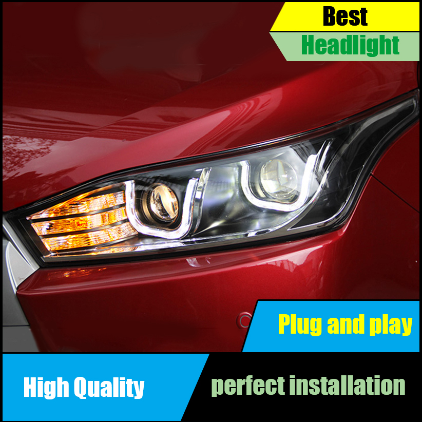 Car styling Head Lamp For Toyota YARiS headlights 2014-2016 double U led drl HID KIT Bi-Xenon Lens low beam headlight Assembly