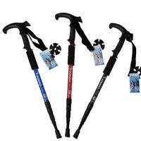 New Walking Stick Hiking Walking Trekking Trail Poles Ultralight 4 Section Adjustable Canes