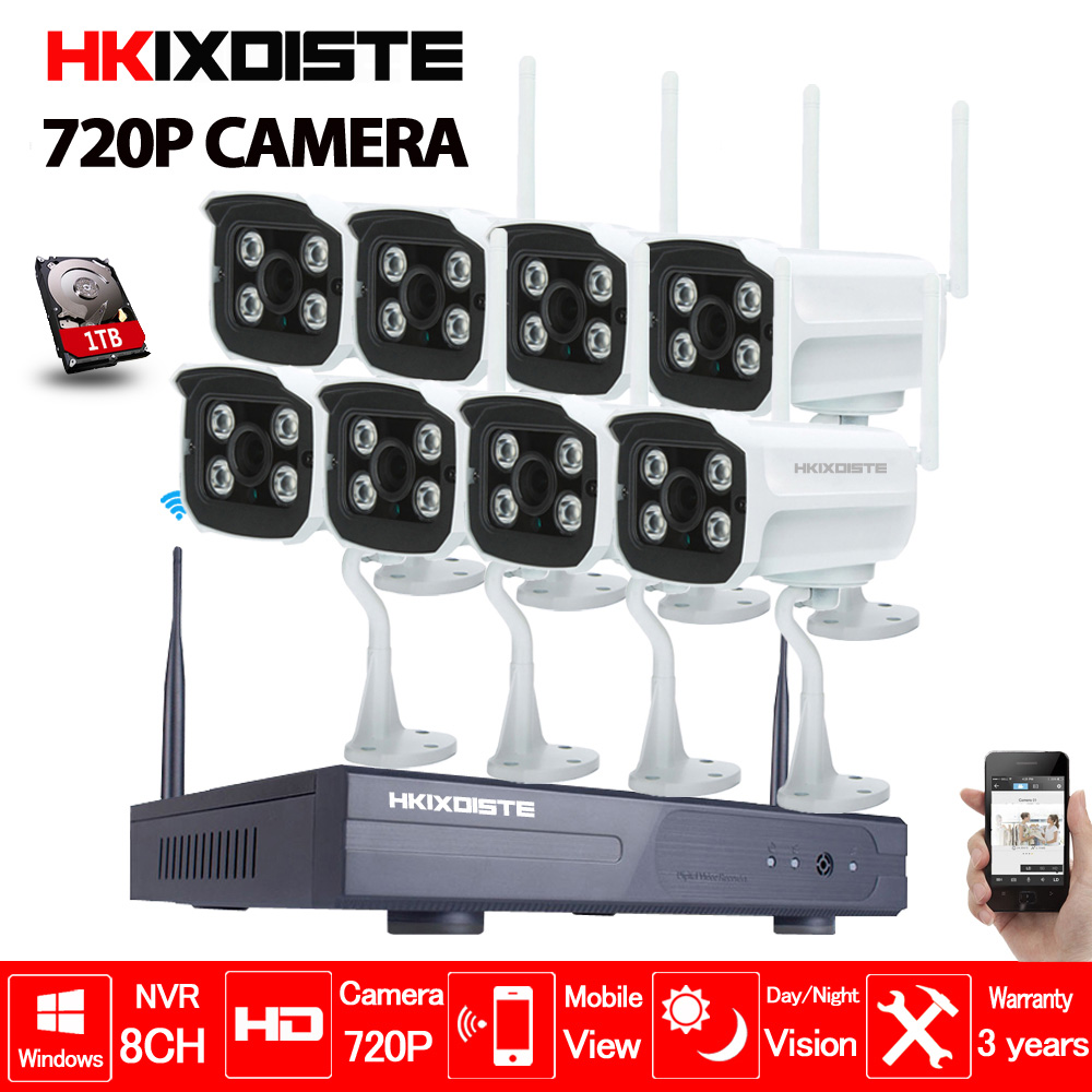 8CH CCTV System Wireless 720P NVR 8PCS 1.0MP IR Outdoor P2P Wifi IP CCTV Security Camera System Surveillance Kit 1TB HDD zosi 8ch cctv system wireless 960p nvr 8pcs 1 3mp ir outdoor p2p wifi ip cctv security camera system surveillance kit 1tb hdd