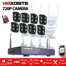 8CH CCTV System Wireless 720P NVR 8PCS 1.0MP IR Outdoor P2P Wifi IP CCTV Security Camera System Surveillance Kit 1TB HDD