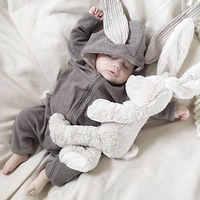 Primavera outono roupas do bebê recém-nascido coelho macacão de algodão com capuz recém-nascido menina onesies moda infantil traje meninos outfits