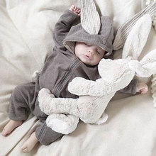 Spring Autumn Newborn Baby Clothes Bunny Baby Rompers Cotton Hoodie Newborn Girl Onesies Fashion Infant Costume Boys Outfits cheap Kids Tales Solid Hooded zipper Unisex Full we32 Fits true to size take your normal size
