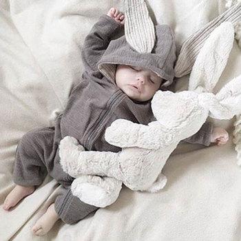 Wiosna jesień noworodka ubrania dla dzieci Bunny śpioszki dla niemowląt bawełniana bluza z kapturem dziewczynka noworodek Onesies moda kostium dla niemowląt chłopcy stroje tanie i dobre opinie Kids Tales COTTON Stałe Unisex Pełna we32 Dziecko Pasuje prawda na wymiar weź swój normalny rozmiar zipper Pajacyki