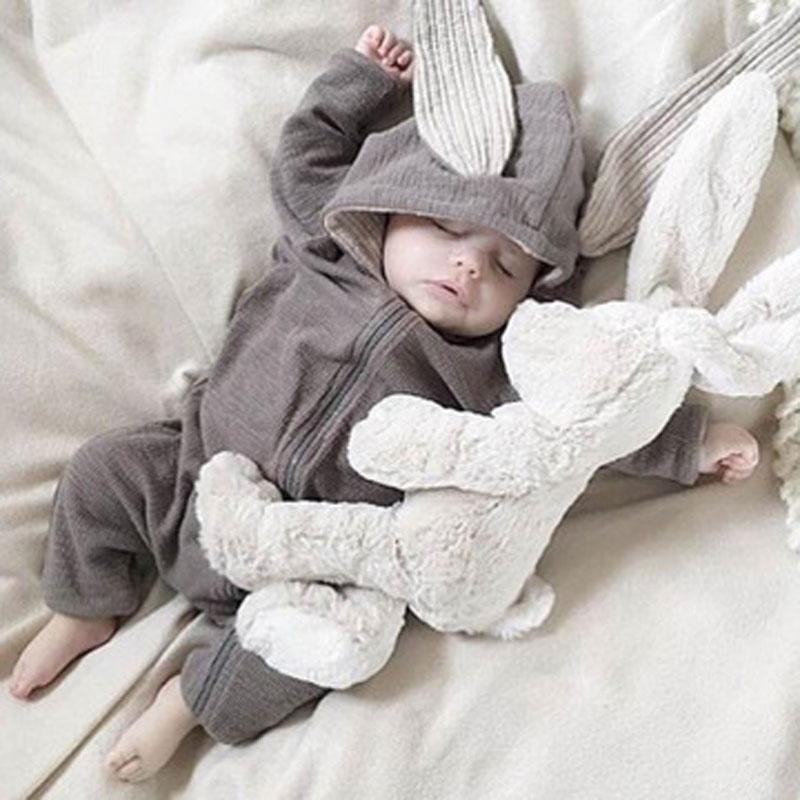 İlkbahar sonbahar yenidoğan bebek elbise Bunny bebek tulum pamuk kapüşonlu yenidoğan kız Onesies moda bebek kostüm erkek kıyafetler
