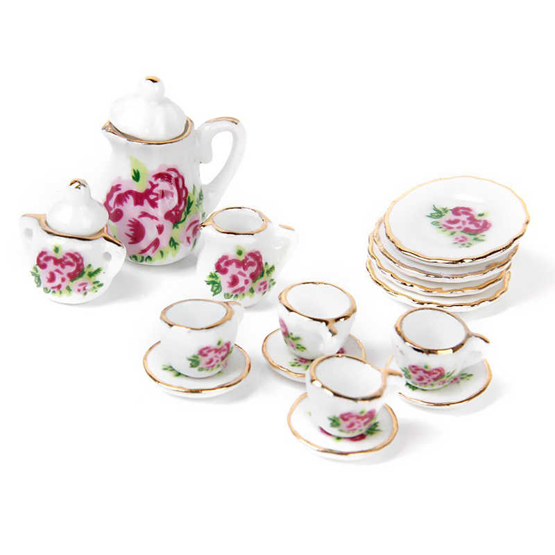 TOP!-15 pieces Porcelain tea set Dollhouse miniature foods Chinese rose dishes cup