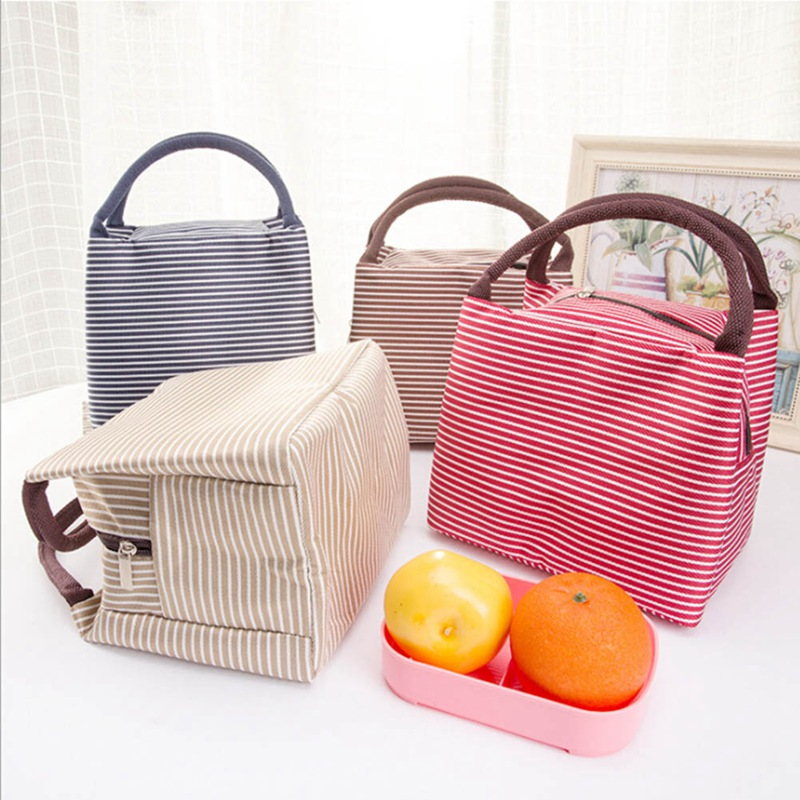 Fashion Portable Insulated Canvas lunch Bag Thermal Food Picnic Lunch Bags for Women kid ...
