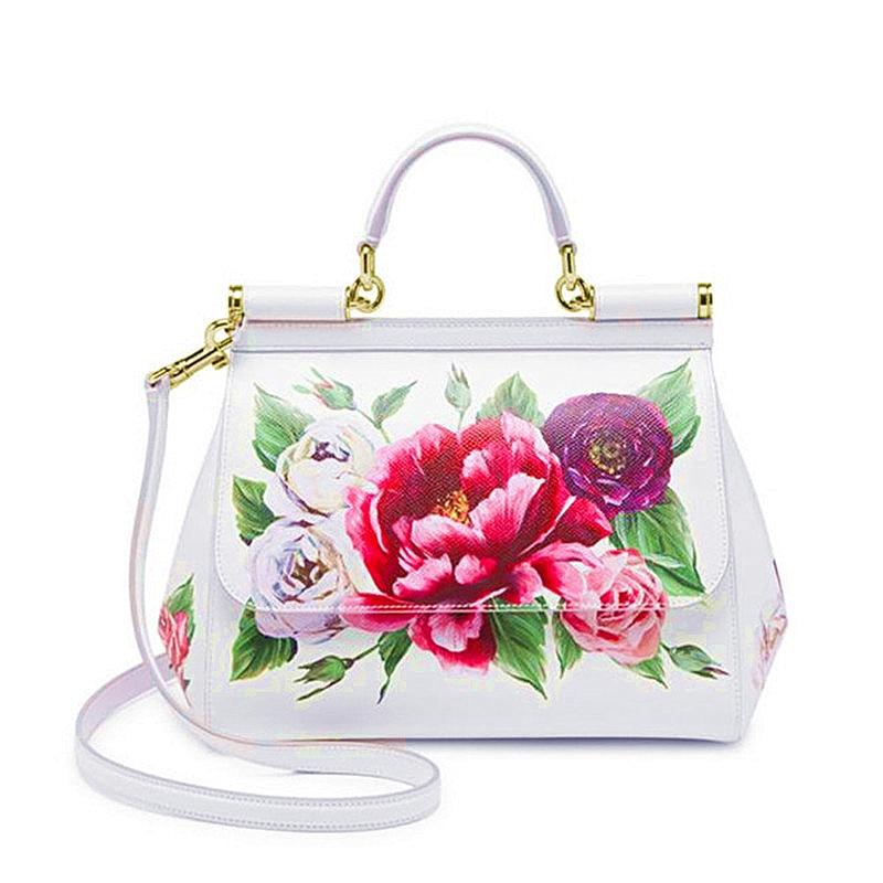 Prémio Luxo Senhora Bolsa de Ombro Bolsas de Flores Impressão
