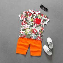 2016 D'été De Mode Garçons Vêtements 2-7Y enfants vêtements ensemble fleur imprimer manches courtes t-shirt + pantalon court enfants ensemble pour garçon