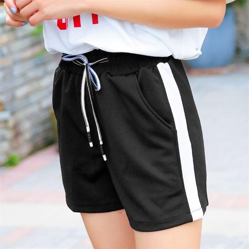Striped 2018 Summer Street Fashion   Shorts   Women Drawstring   Short   Pants Women All-match Loose Black   Shorts   Femme Dropship