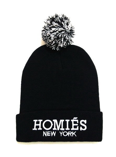 Black Homies Pom Pom Beanie Winter Knitted Hat With Words Skullies Head Cap  For Women and Men-in Skullies   Beanies from Apparel Accessories on ... 5e1a5692d85