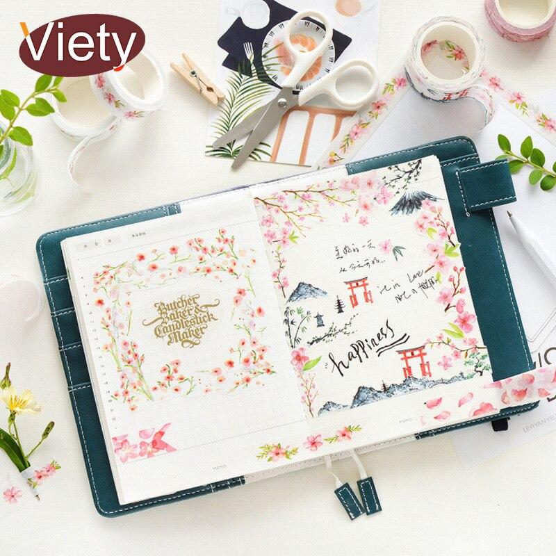 1.5-3cm*7m Pink Cherry Blossoms Washi Tape DIY Decoration Scrapbooking Planner Masking Tape Adhesive Tape Label Sticker
