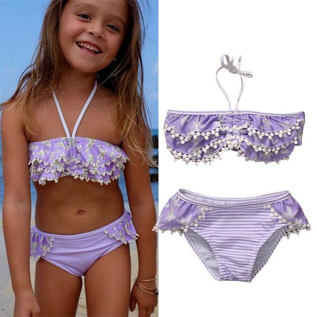 98c1bb9d74046 Wholesale Price Cute Children Summer Swimsuit Kids Girl Swimwear Set Baby  Girls Tassel Ruffle Bikini Toddler Beach Bathing Suits