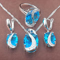 New Band Sky Blue Cubic Zirconia Women's 925 Silver Jewelry Sets Necklace Pendant Earrings Rings Free Shipping TZ084