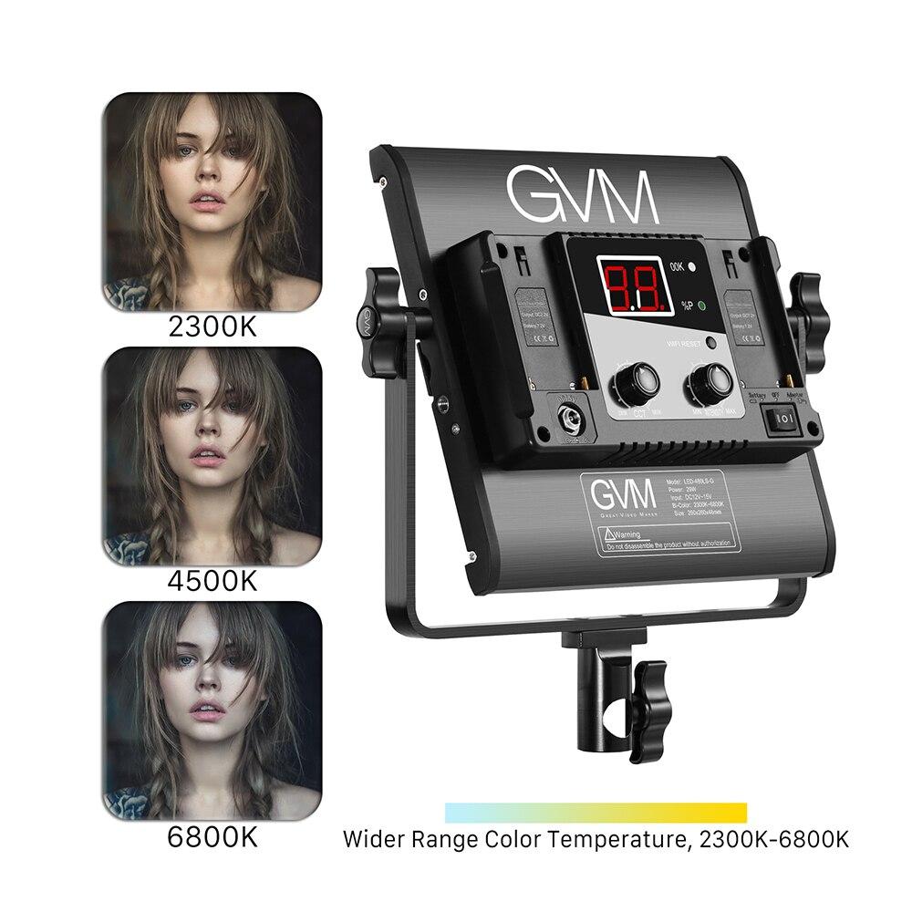 GVM LED 480LS 29W Dimmable Bi color LED Video Panel Light 2300K 6800K Aluminum Alloy Housing