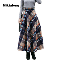 Mikialong 2017 Harajuku Plaid Wool Skirt Women Autumn Winter Thicken Long Maxi Skirt Vintage Elastic High
