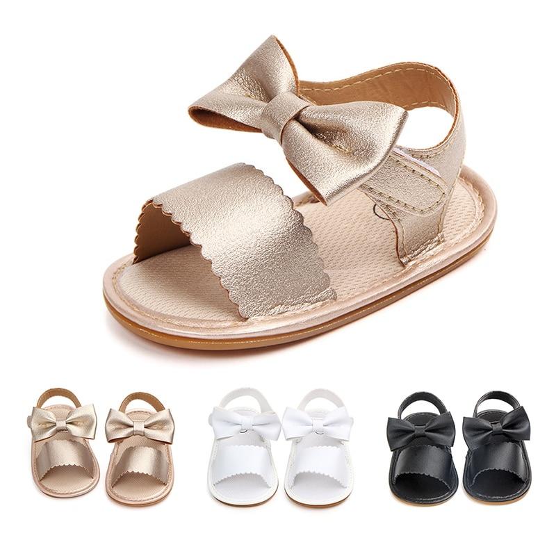 Summer Newborn Baby Girls Shoes Princess Sweet Big Bow First Walkers Crib Kids Open-Toe Slingback Shoes