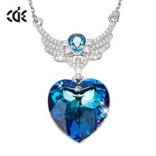 CDE Luxury Embellished with crystals from Swarovski Necklaces Jewelry For Women Blue Heart Pendant Wings Jewelry Exquisite Gifts(China)