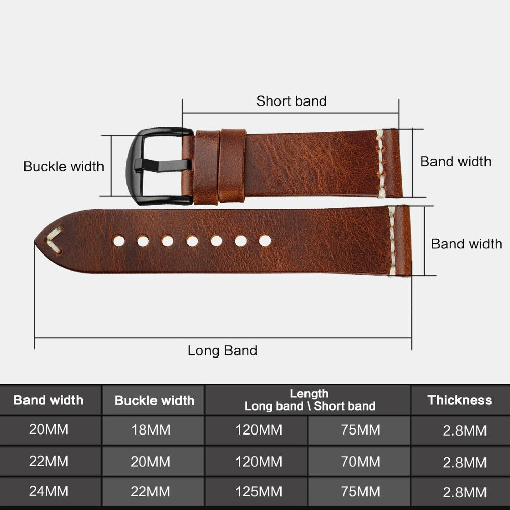MAIKES Watch Accessories Watchbands 20mm 22mm 24mm Genuine Leather Watch Strap For samsung gear s3 / tissot Bracelets Watch Band