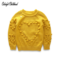 Thick Warm Girl Sweater Christmas Wedding Party Outfit Knitted Tassel Heart Design Winter Girls Pullovers Kids