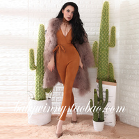 Free Shipping 2017 Spring New Jumpsuit Deep V Neck Brick Red Slim One Piece Pants High Waist Tight Ankle Length Women Jumpsuits