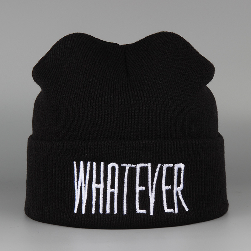 2016 New WHATEVER Letter Hat Winter For Women Men Warm Knitted Brand Hot Sale Casual Hip Hop Hat Female Skullies Beanies rwby letter hot sale wool beanie female winter hat men