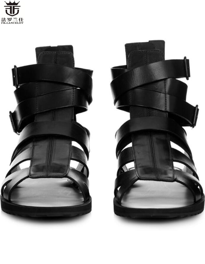 FR.LANCELOT new 2018 men gladiator sandals flat heel summer shoes real leather fretwork style male holiday sandals causal flats
