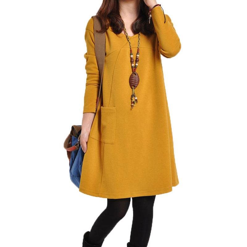 #2231 2018 Knitted dress Spring/Fall O-neck Side one pockets Casual V-neck Loose vestidos Casual Plus size dresses Solid color embroidered casual loose knitted dress flower long sleeved dress o neck line plain dresses fall casual dresses