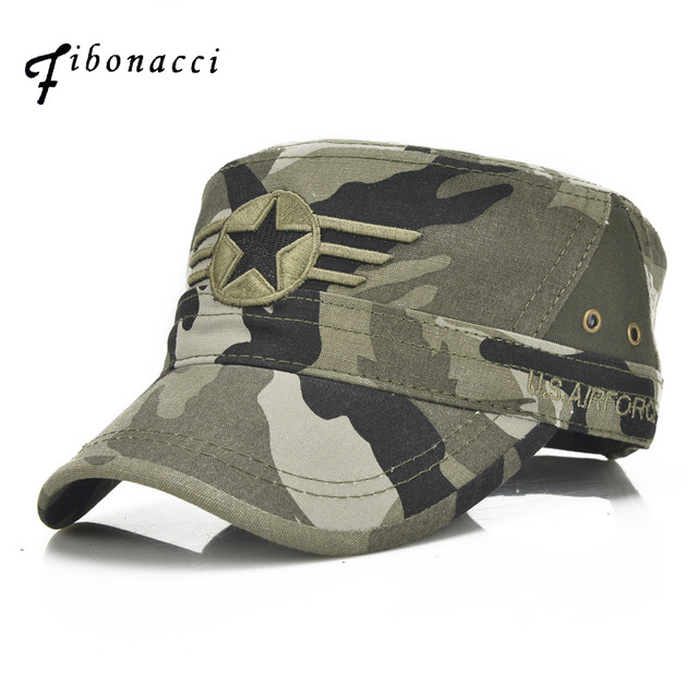 4959db707ba Fibonacci Classic Men Snapback Caps Army Cadet Military Hats Patrol Cap  Adjustable Five Pointed Star Flat Top Camouflage Hat